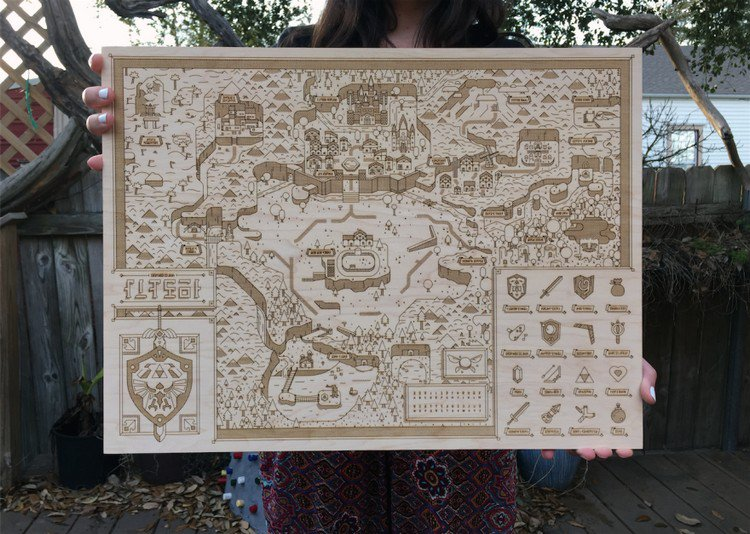 This Laser Etched Hyrule Map Would Make Any Zelda Fan Drool