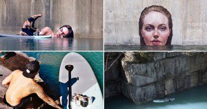 Hilarious Kids That Are Winning At Life - Artist paints incredible seaside murals balanced on surfboard