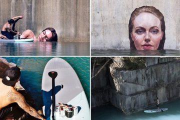 Artist Paints Seaside Street Murals While Balancing On Surfboard