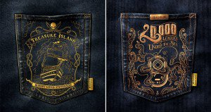 Classic Book Covers Embroidered On Jean Pockets