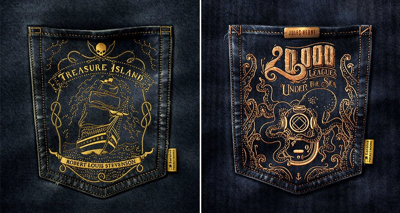 Classic Book Cover Up : Classic book covers embroidered on jean pockets by saulo filho