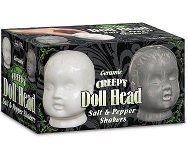 Creepy Doll Head Salt and Pepper Shakers box