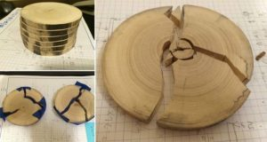 DIY Cracked Wood Blue Goo Coasters