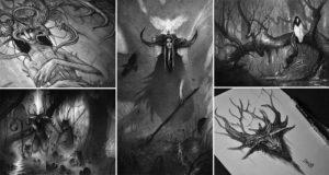 Graphite Illustrations Mystical Creatures