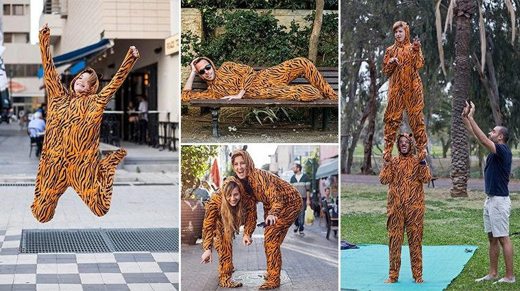 Photographer Gets Random People To Pose In Tiger Suit