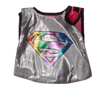 Supergirl Caped Bib And Booties silver