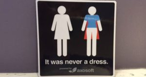 Woman Transformed Into Superhero Bathroom Signs
