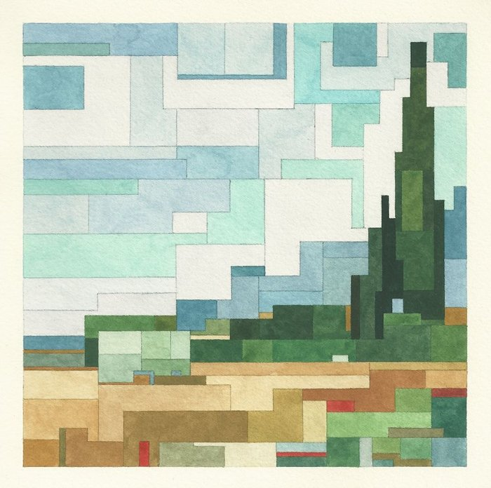 Pixelated Watercolor Versions Of Famous Paintings By Adam