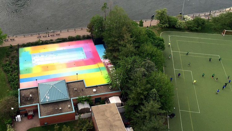 aerial view colorful pool