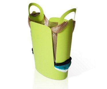 bag storing trash can green