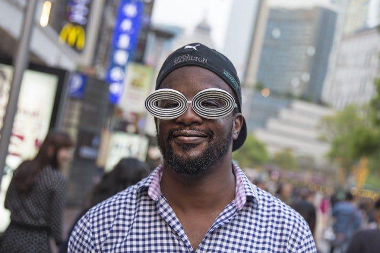 biz eyes eyewear black white man