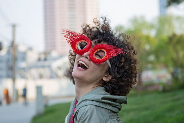 biz eyes eyewear red woman laugh