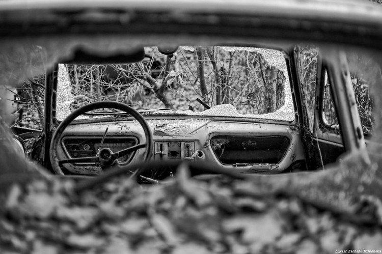 black and white inside car wrecked