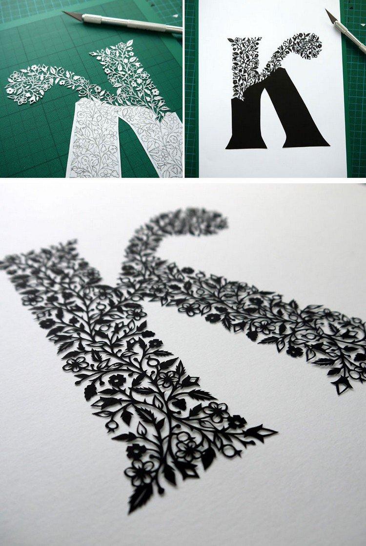 black paper cut k