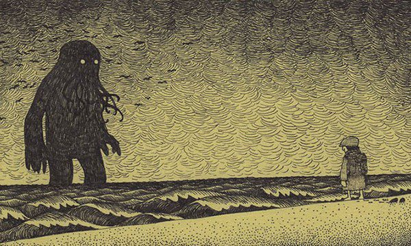 black sea monster girl shore