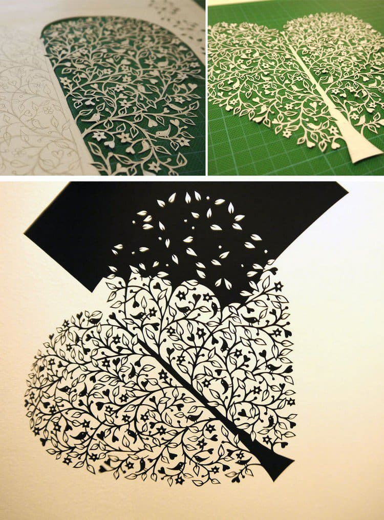 black white tree paper cut
