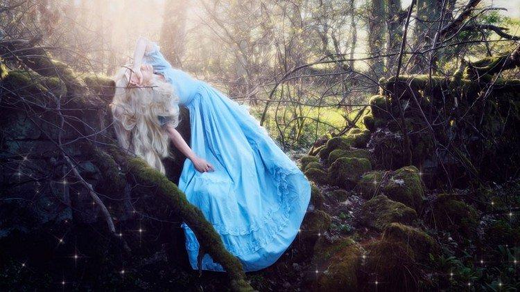 blond blue dress woman