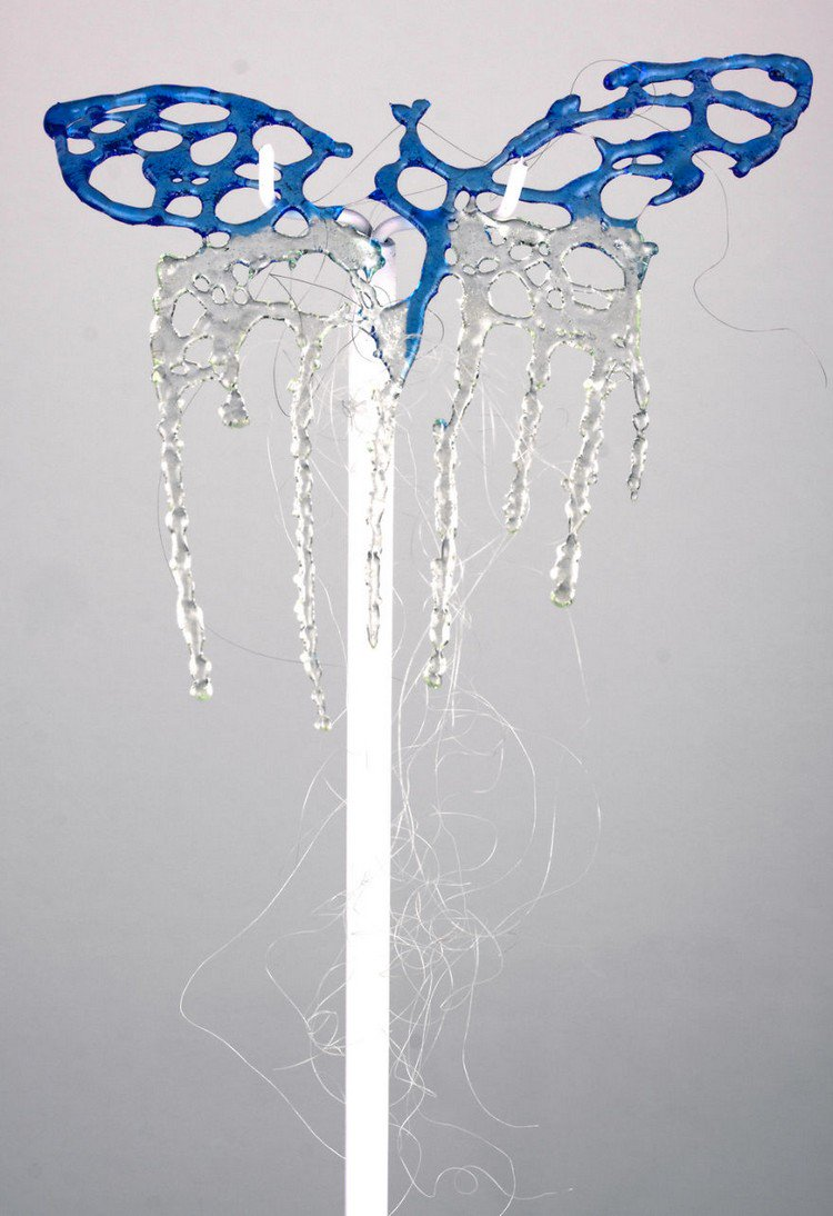 blue butterfly glass hair comb