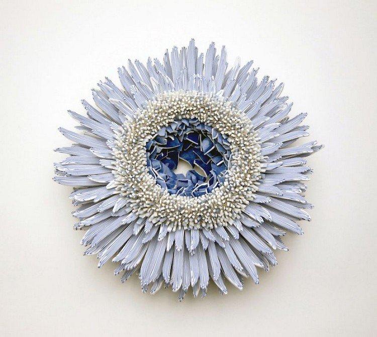 blue white flower porcelain full