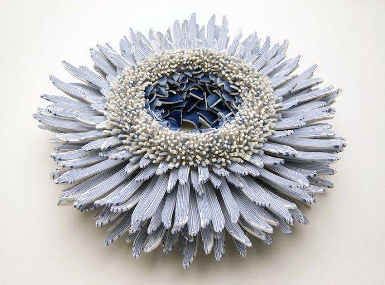 blue white flower porcelain