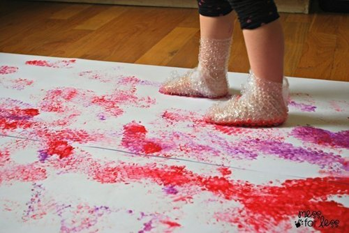 bubble wrap stomp paintings