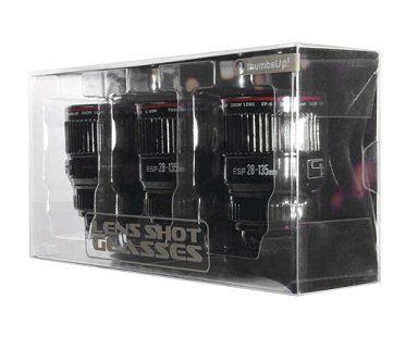 camera lens shot glasses set box