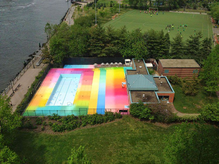 colorful pool pitch water