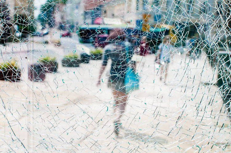 cracked glass street people