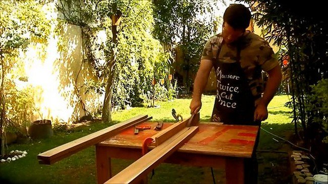 cutting wood frame