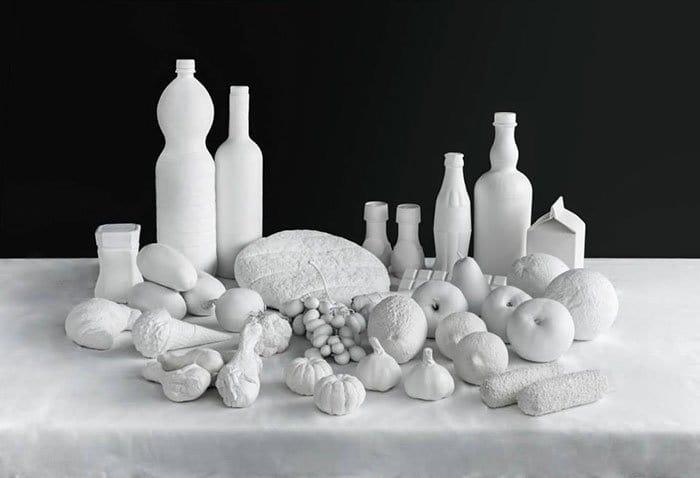different food sculptures