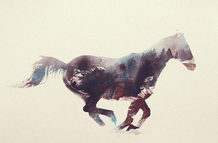 double exposure horse