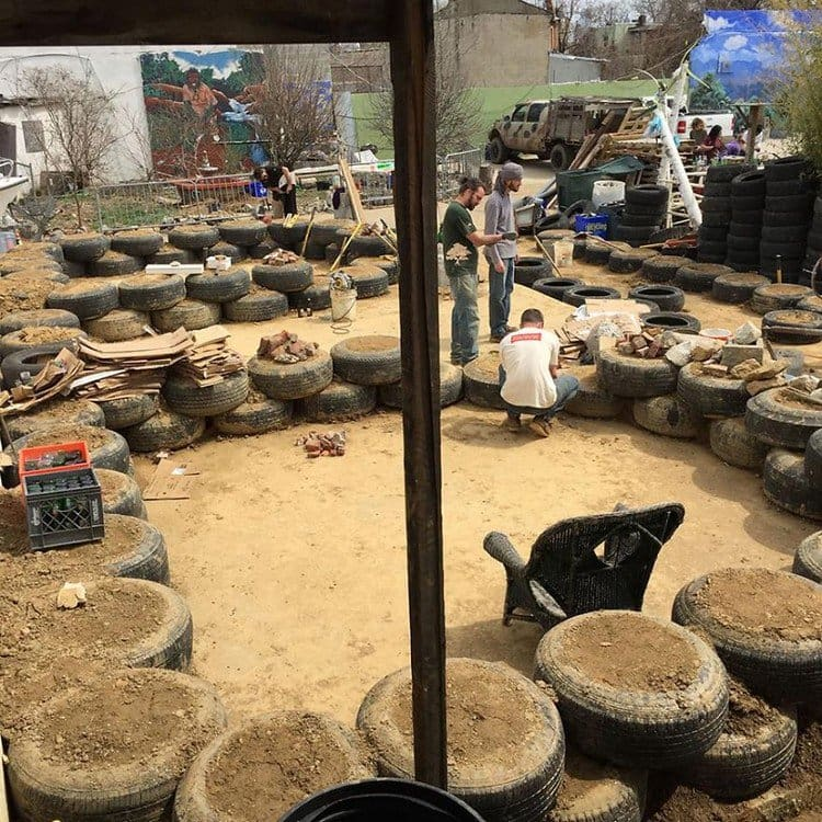 earthship building tyres