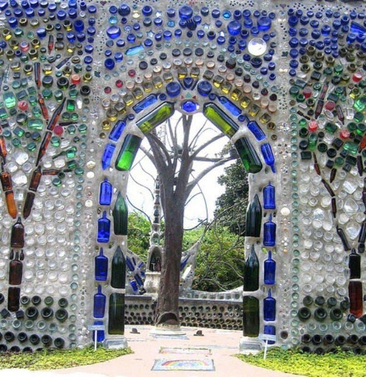 earthship glass bottle archway