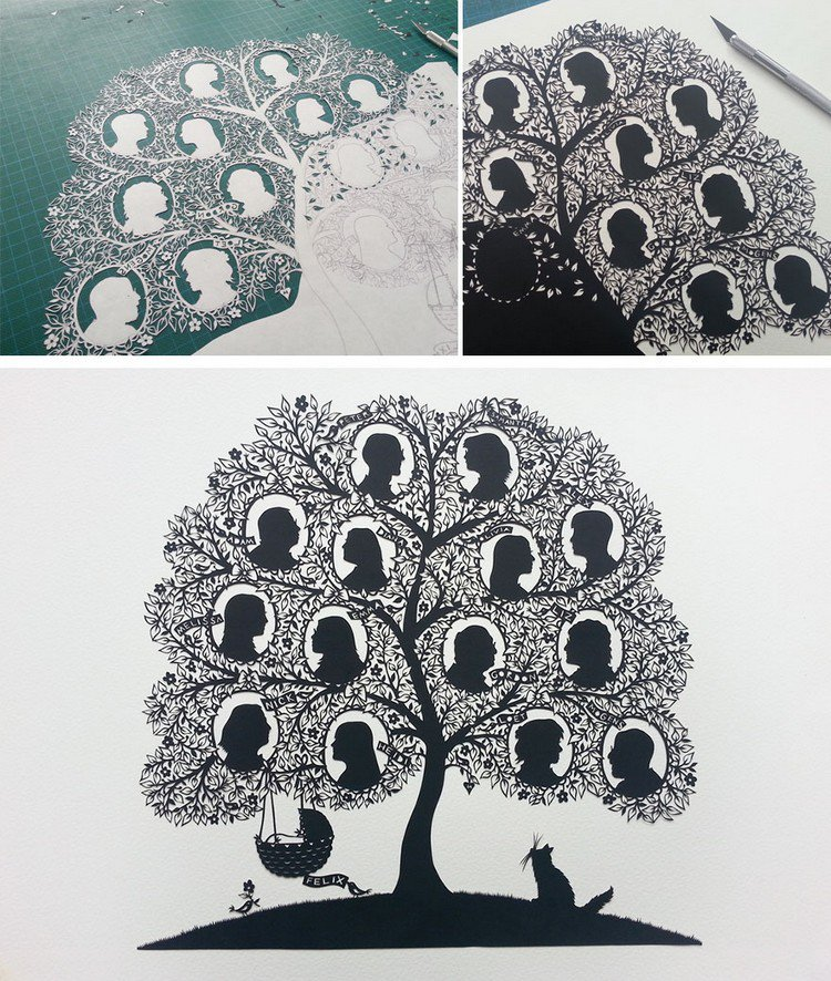 family tree paper cut