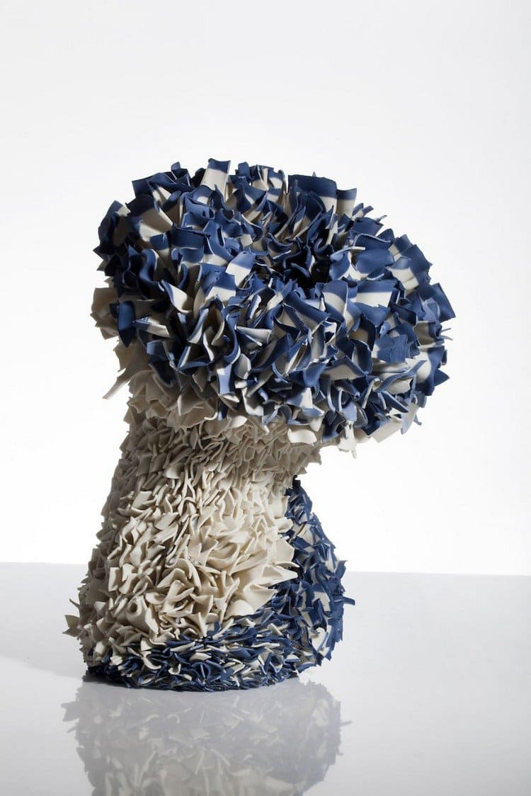 full view blue flower sculpture