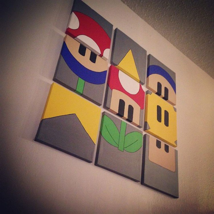 hanging mario canvases wall