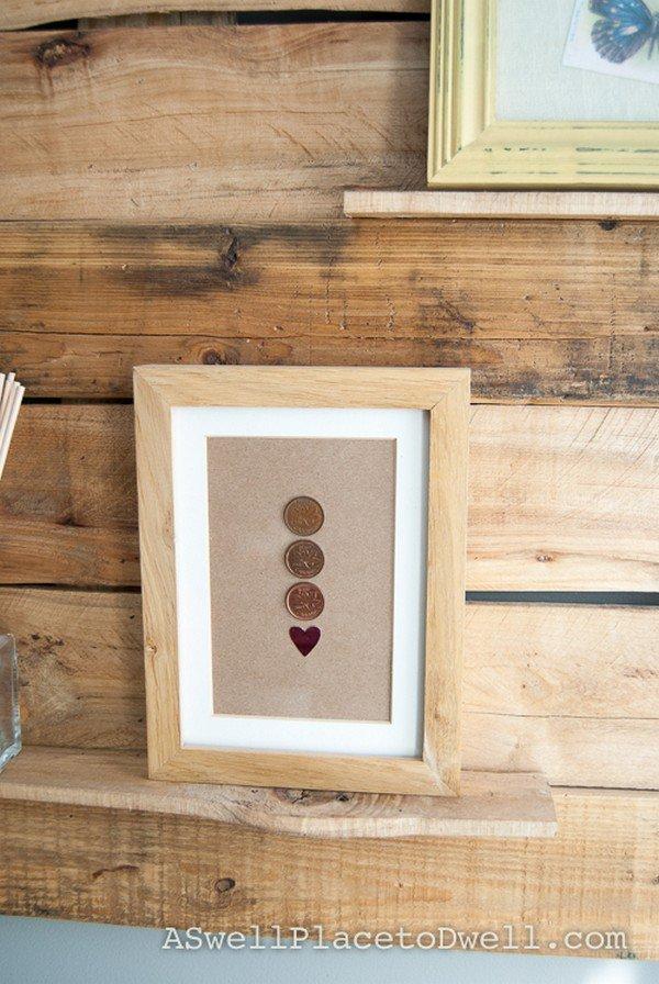 heart coins frame