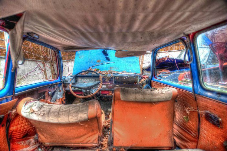 inside colorful car wrecked