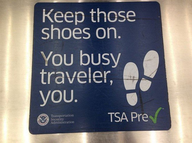 keep shoes on sign