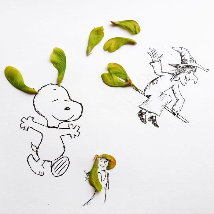 leaves cartoons