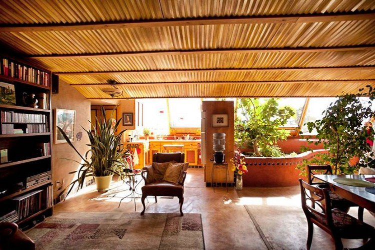 living room earthship