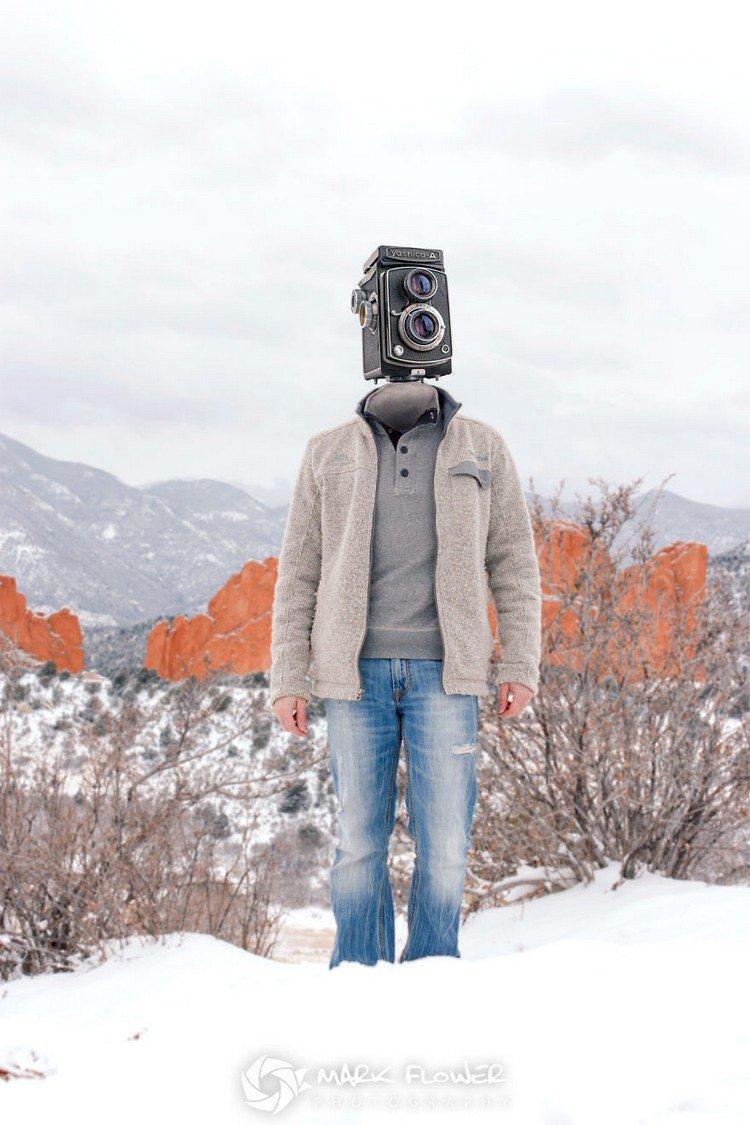 man camera head