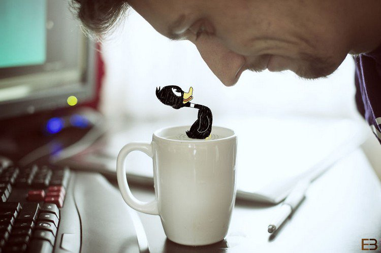man cartoon duck cup