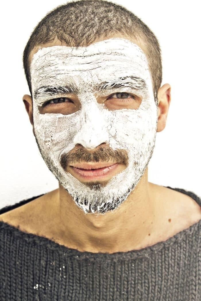 man mustache white face