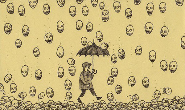 man umbrella falling heads