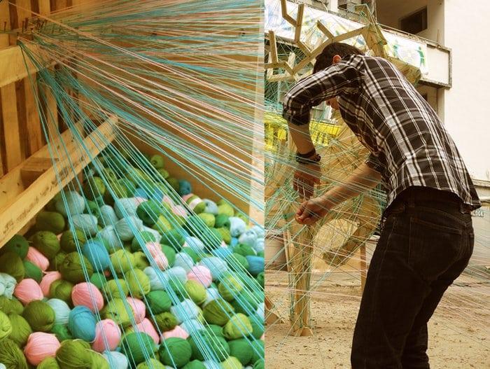 man weave yarn