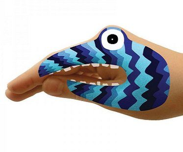 monster hands temporary tattoos blue