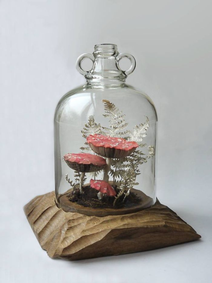 mushroom sculpture bottle