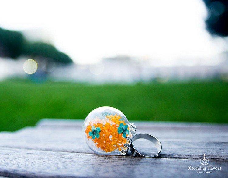 orange moss flower ring