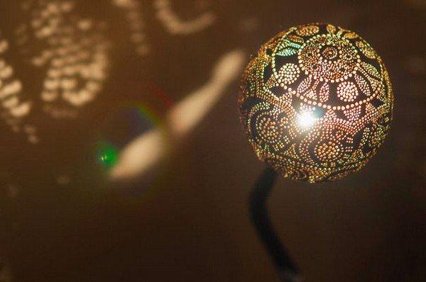 ornate lamp lit